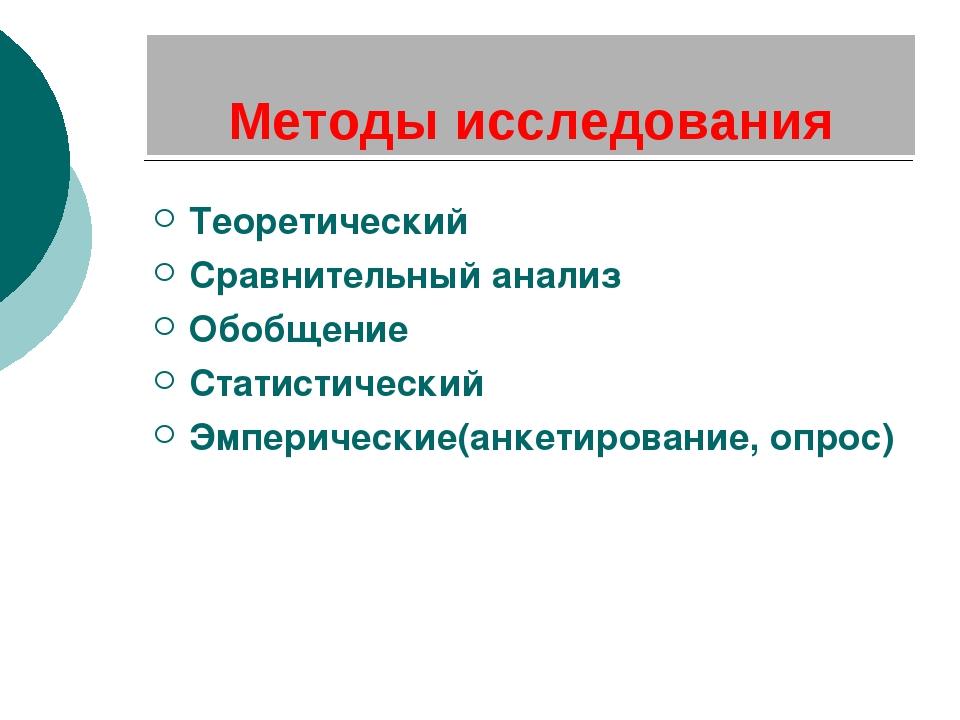 Методы исследования Теоретический Сравнительный анализ Обобщение Статистическ...