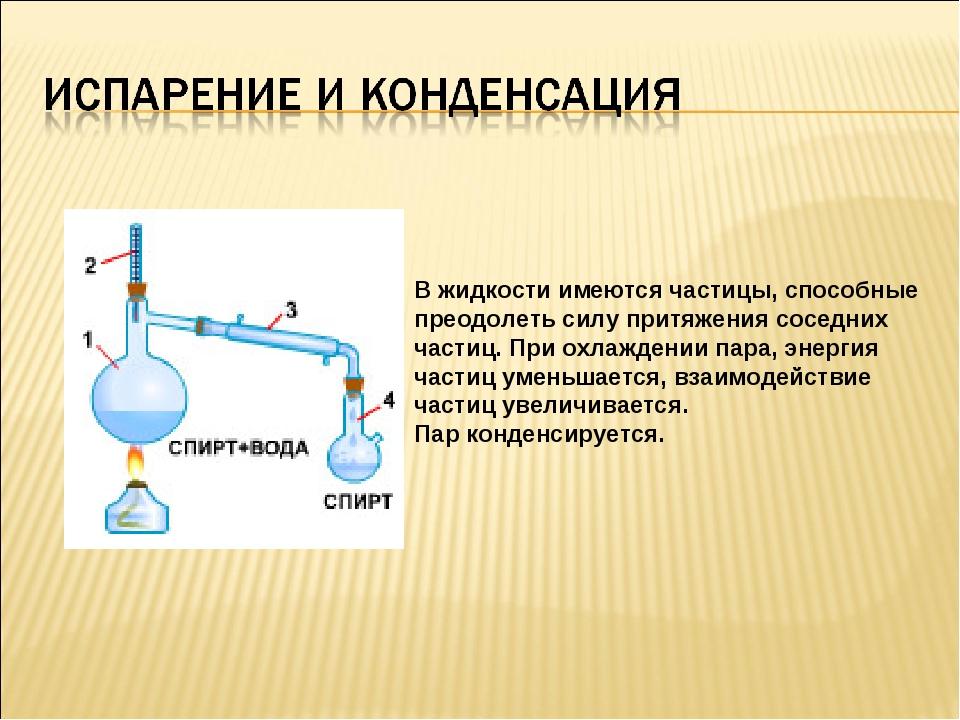 В жидкости имеются частицы, способные преодолеть силу притяжения соседних час...