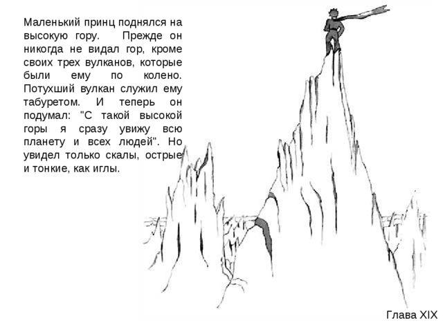 Глава XIX Маленький принц поднялся на высокую гору. Прежде он никогда не вида...