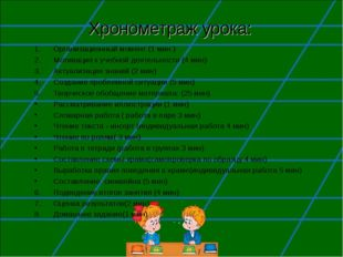 Хронометраж урока: Организационный момент (1 мин.) Мотивация к учебной деятел