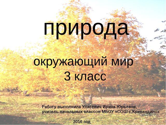 природа окружающий мир 3 класс Работу выполнила Уласевич Ирина Юрьевна, учите...