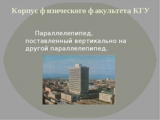 Корпус физического факультета КГУ Параллелепипед, поставленный вертикально н...