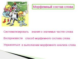 Морфемный состав слова Систематизировать Воспроизвести Упражняться знания о з