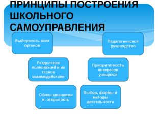 Выборность всех органов Педагогическое руководство Разделение полномочий и их