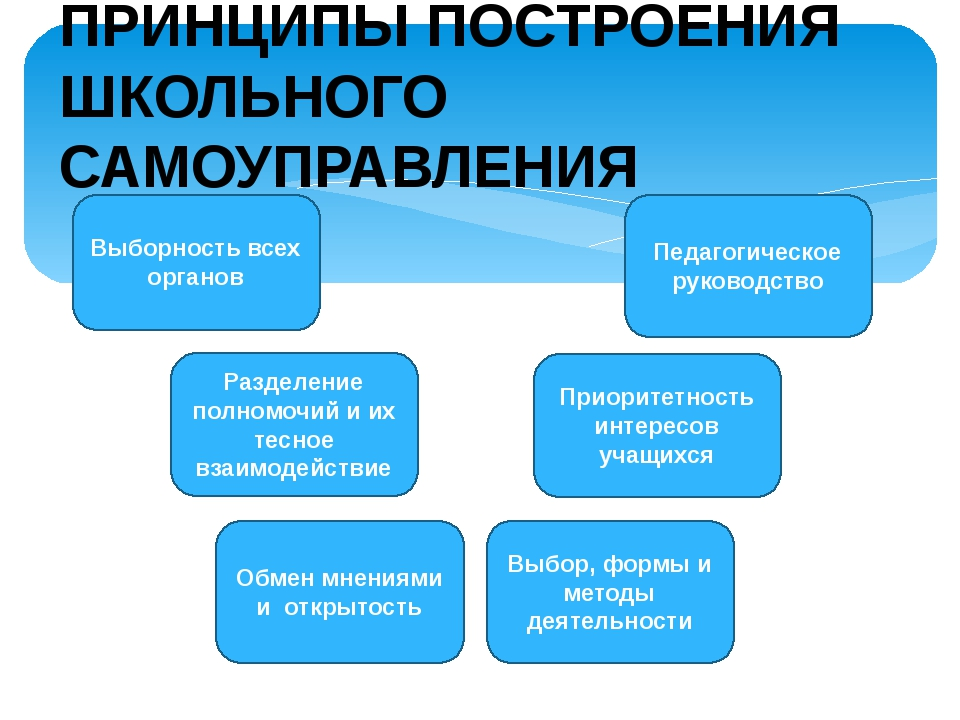 Выборность всех органов Педагогическое руководство Разделение полномочий и их...