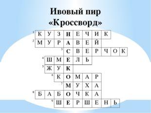 Ивовый пир «Кроссворд» 1 К У З Н Е Ч И К   2 М У Р А В Е Й       3 С
