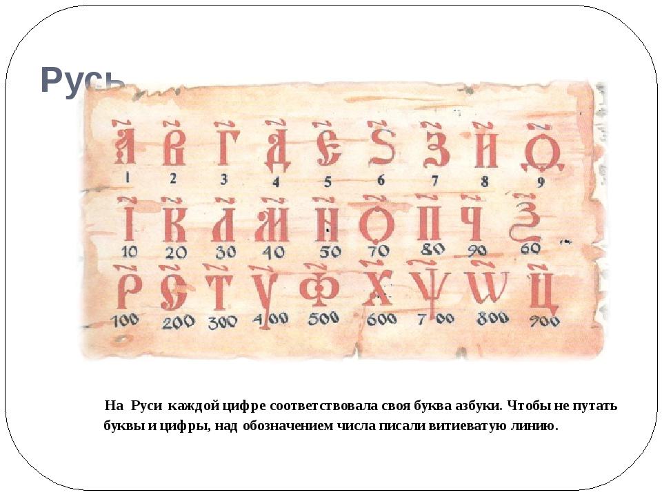 Русь На Руси каждой цифре соответствовала своя буква азбуки. Чтобы не путать...