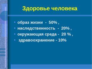 Здоровье человека образ жизни - 50% , наследственность - 20% , окружающая сре