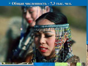 Общая численность - 7,3 тыс. чел. Говорят в основном по-русски, около 2 тыс.