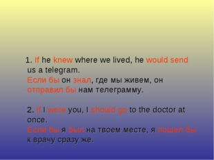 1. If he knew where we lived, he would send us a telegram. Если бы он знал,