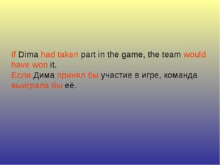 If Dima had taken part in the game, the team would have won it. Если Дима при