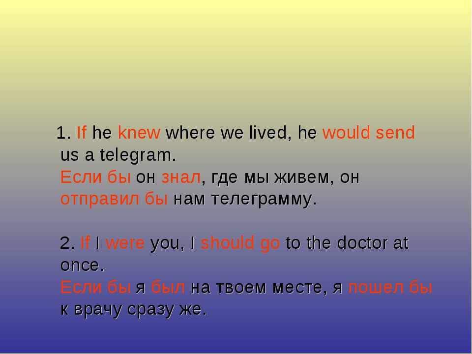 1. If he knew where we lived, he would send us a telegram. Если бы он знал,...