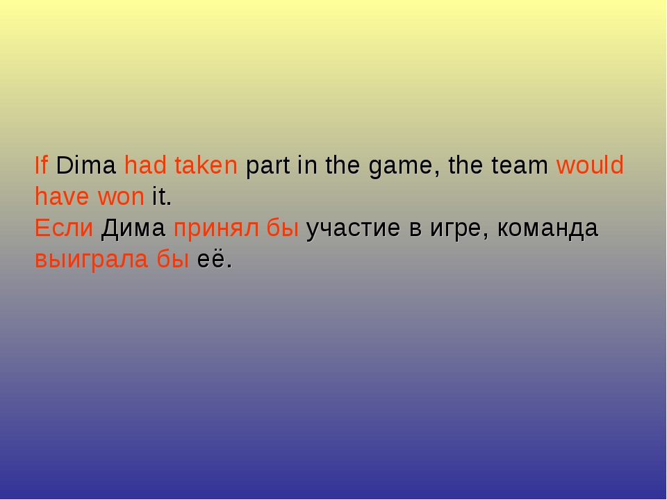 If Dima had taken part in the game, the team would have won it. Если Дима при...