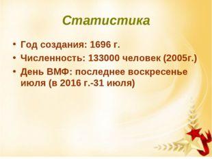 Статистика Год создания: 1696 г. Численность: 133000 человек (2005г.) День ВМ