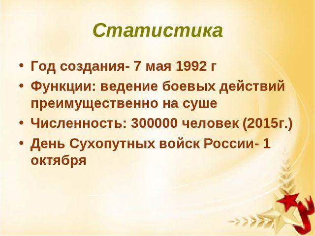 Статистика Год создания- 7 мая 1992 г Функции: ведение боевых действий преиму...