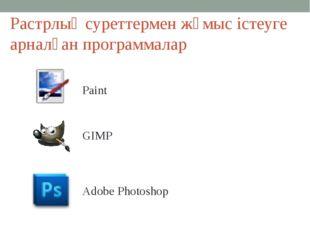 Растрлық суреттермен жұмыс істеуге арналған программалар Paint GIMP Adobe Pho