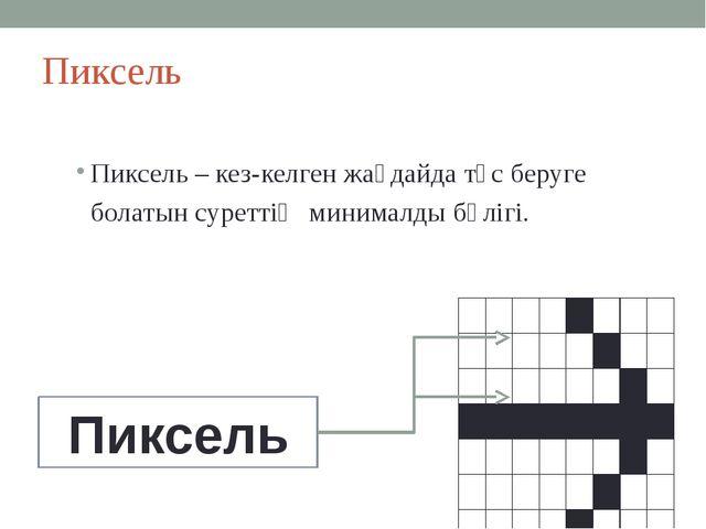 Пиксель Пиксель – кез-келген жағдайда түс беруге болатын суреттің минималды б...