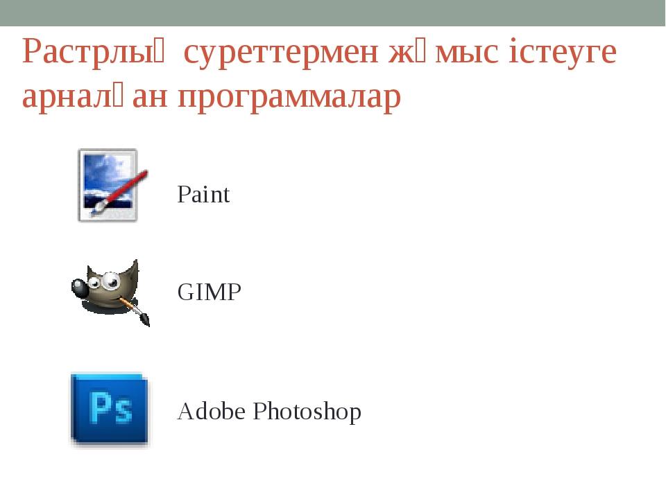 Растрлық суреттермен жұмыс істеуге арналған программалар Paint GIMP Adobe Pho...