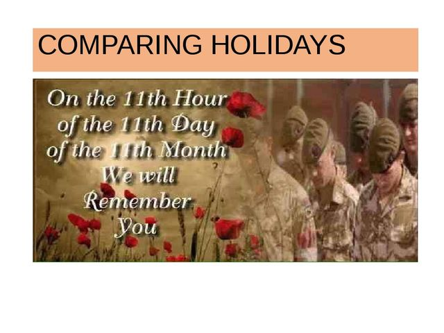 COMPARING HOLIDAYS