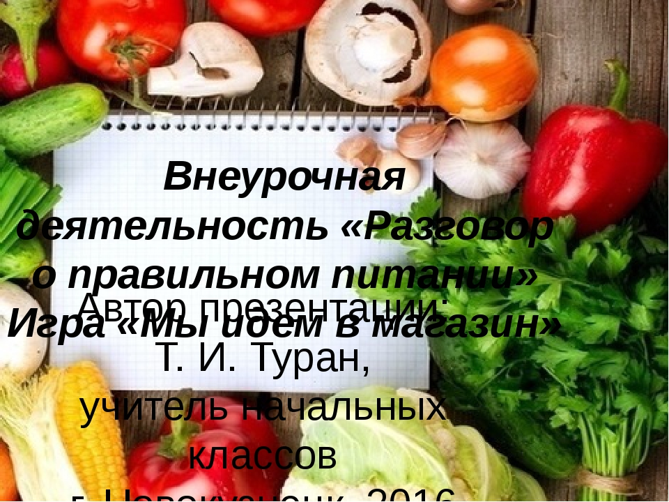 Внеурочная деятельность «Разговор о правильном питании» Игра «Мы идем в магаз...