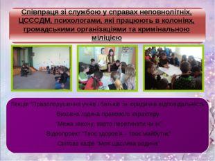 Співпраця зі службою у справах неповнолітніх, ЦСССДМ, психологами, які працю