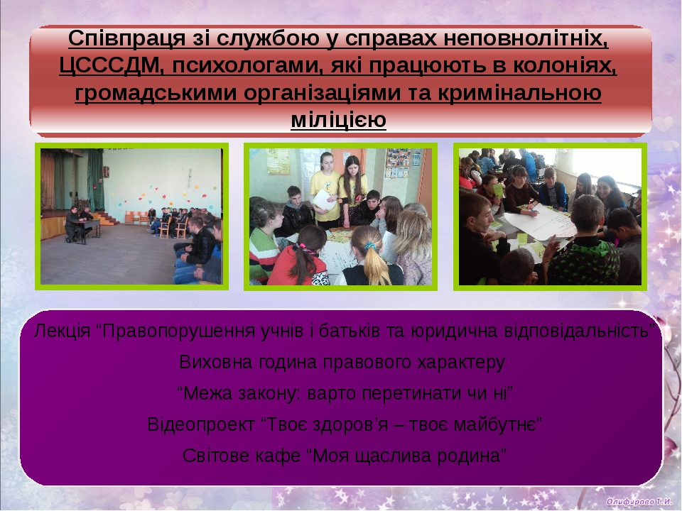 Співпраця зі службою у справах неповнолітніх, ЦСССДМ, психологами, які працю...