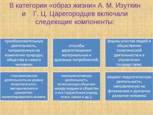 В категории «образ жизни» А. М. Изуткин и Г. Ц. Царегородцев включали следеющ