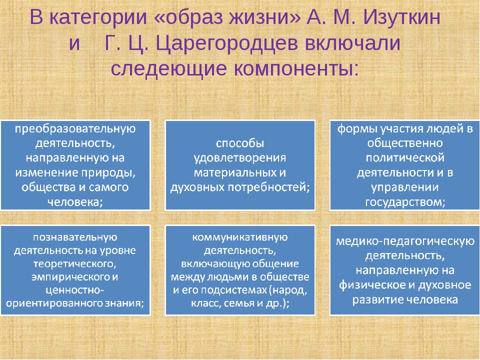 В категории «образ жизни» А. М. Изуткин и Г. Ц. Царегородцев включали следеющ...