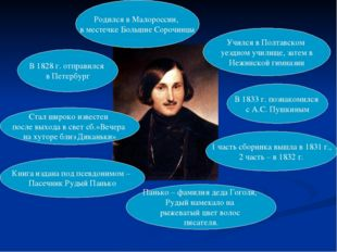 Родился в Малороссии, в местечке Большие Сорочинцы Учился в Полтавском уездно