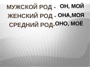 МУЖСКОЙ РОД - ЖЕНСКИЙ РОД - СРЕДНИЙ РОД- ОН, МОЙ ОНА,МОЯ ОНО, МОЁ