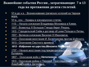 VII в.до н.э. - Возникновение греческих колоний на Черном море. VII в., кон.