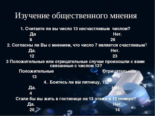 Изучение общественного мнения 1. Считаете ли вы число 13 несчастливым числом...