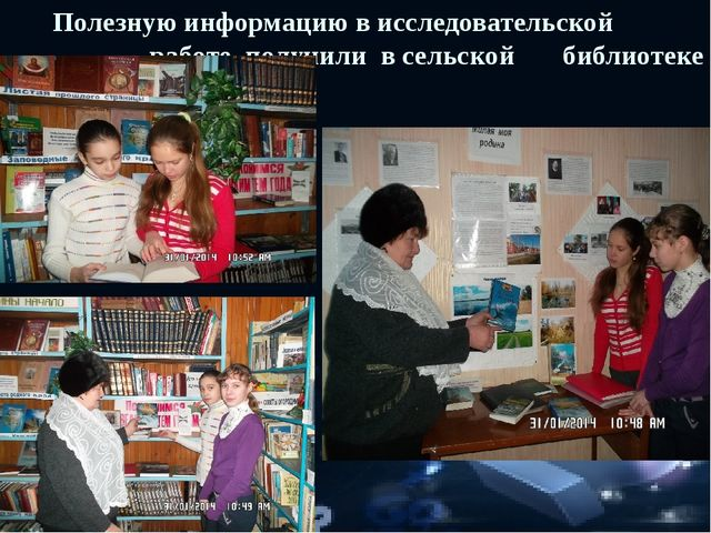 Полезную информацию в исследовательской работе получили в сельской библио...