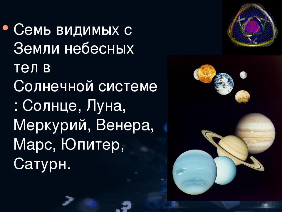 Семь видимых с Земли небесных тел в Солнечной системе: Солнце, Луна, Меркурий...