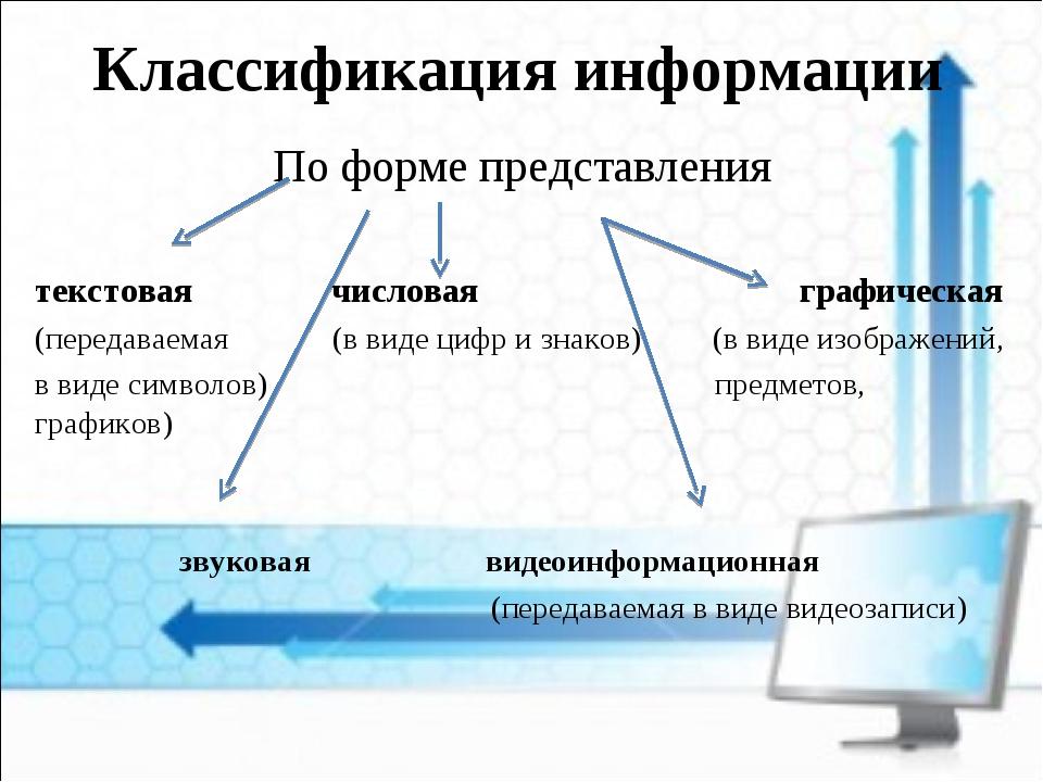 Классификация информации По форме представления текстовая числовая графическа...