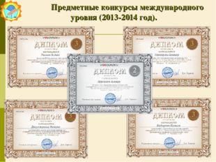 Предметные конкурсы международного уровня (2013-2014 год).