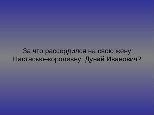 За что рассердился на свою жену Настасью–королевну Дунай Иванович?