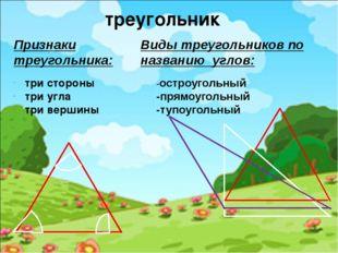 -остроугольный -прямоугольный -тупоугольный Признаки треугольника: треугольни