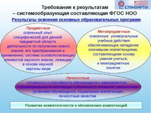 Результаты освоения основных образовательных программ Развитие компетентности