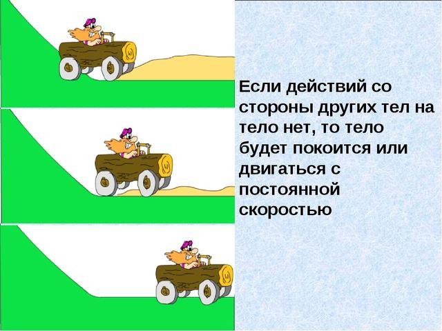 Если действий со стороны других тел на тело нет, то тело будет покоится или д...