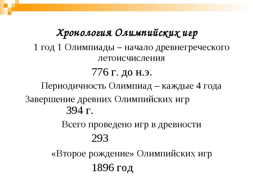 Хронология Олимпийских игр 1 год 1 Олимпиады – начало древнегреческого летои...