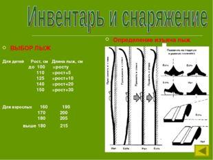ВЫБОР ЛЫЖ Для детей Рост, см Длина лыж, см до 100 =росту 110 =рост+5 125 =рос