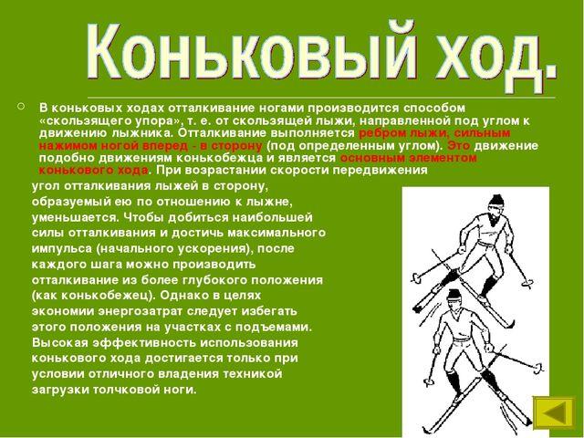 В коньковых ходах отталкивание ногами производится способом «скользящего упор...