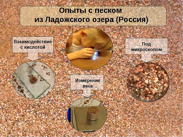 Взаимодействие с кислотой Под микроскопом Измерение веса Опыты с песком из Ла...