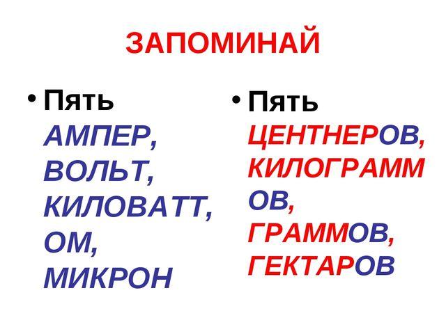 ЗАПОМИНАЙ Пять АМПЕР, ВОЛЬТ, КИЛОВАТТ, ОМ, МИКРОН Пять ЦЕНТНЕРОВ, КИЛОГРАММОВ...
