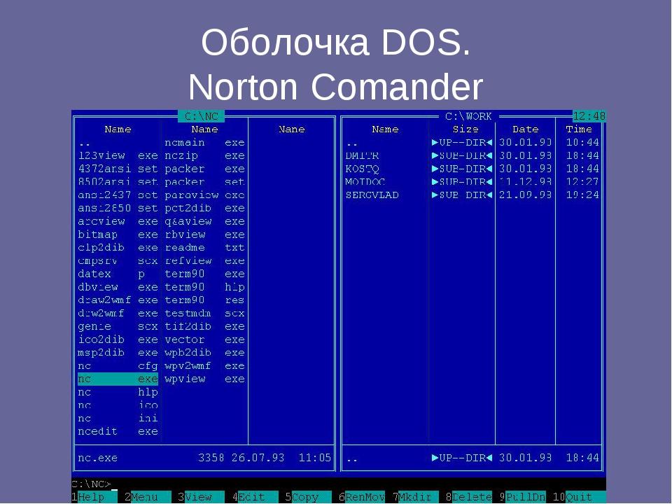 Оболочка DOS. Norton Comander