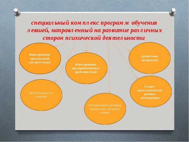 специальный комплекс программ обучения левшей, направленный на развитие разли...