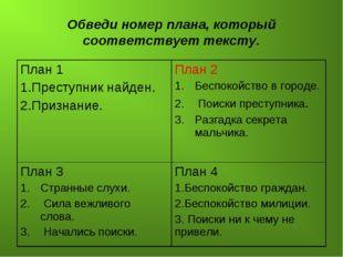 Обведи номер плана, который соответствует тексту. План 1 1.Преступник найден.