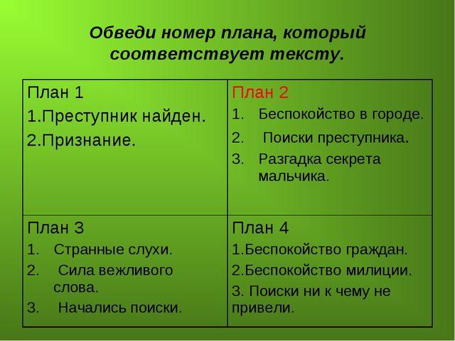 Обведи номер плана, который соответствует тексту. План 1 1.Преступник найден....