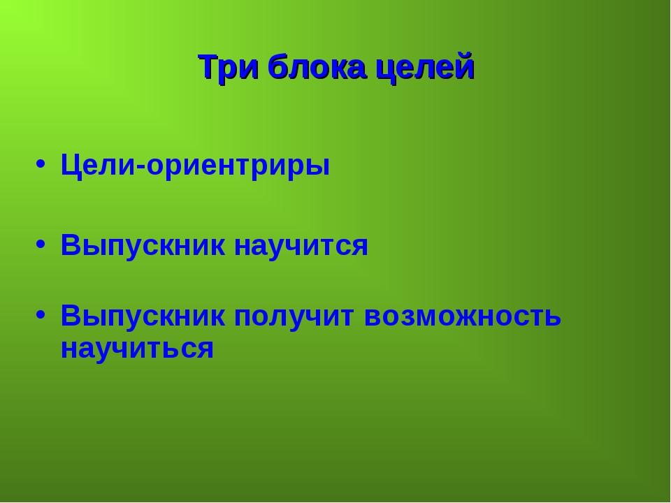 Три блока целей Цели-ориентриры Выпускник научится Выпускник получит возможно...